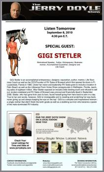 UNSTOPPABLE author GIGI STELER will be a Special Guest on The Jerry Doyle National Syndicated Radio Show